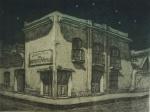 """JULIAN GONZALEZ. """"Media Noche Barrio Montserrat"""", gravura em metal, medindo 33 x 38 cm sem moldura. Assinado e localizado Buenos Aires."""