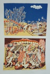 """TOBIAS. """"Paraíso e Inferno"""", 86/200 - II 36/50, assinado e datado 1974, medindo 66 x 48 cm, sem moldura."""